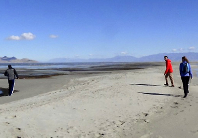 Jaclyn Winter and her research team collect soil samples from the shores of the Great Salt Lake.