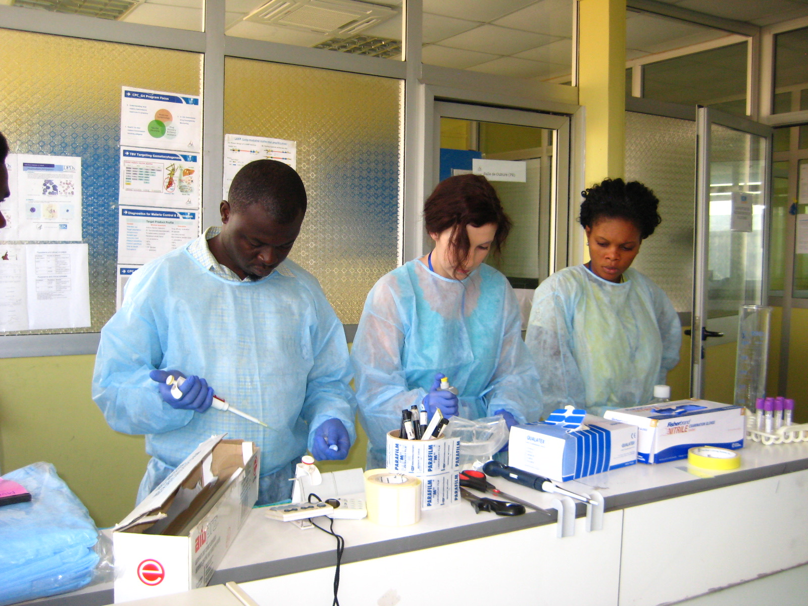 Thayer Darling, PhD, working with Cameroonian students