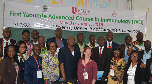 Tracey Lamb, PhD, with the faculty of the Yaounde Advanced Course in Immunology